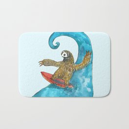 surfing sloth in the spring Bath Mat