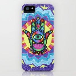 Lucky Hamsa Mandala iPhone Case