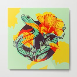 Snake and flowers Metal Print