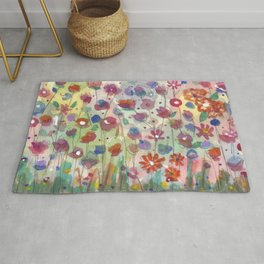 Small Bright Flowers Painting Design Rug