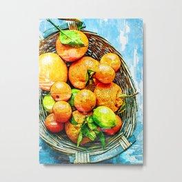 Citrus Basket Of Vitamin C - For Fruit Lovers Metal Print