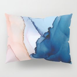 Saphire soft abstract watercolor fluid ink painting Pillow Sham