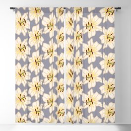Lily Pattern with Gray Background and Yellow Accents Blackout Curtain