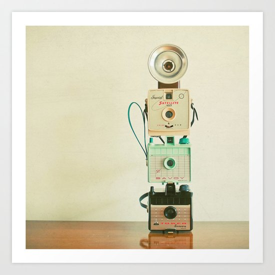 Tower of Cameras Art Print