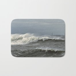 Big waves on the Back shore Bath Mat