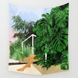 Hiding in Green #painting #illustration Wall Tapestry