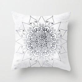 ELEGANT MANDALA IN GRAY Throw Pillow
