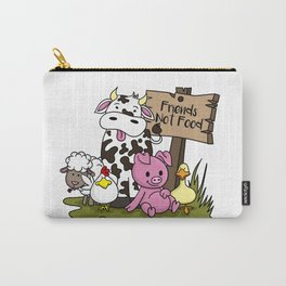 Friends Not Food Animal Rights Pig Cow present Carry-All Pouch