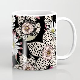 Lilies, spotted stapelia flowers and cactus flowers. Exotic Botanical Coffee Mug