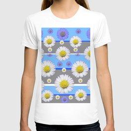 DECORATIVE BLUE MODERN ART WHITE SHASTA DAISIES T-shirt