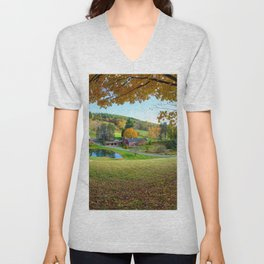 Sleepy Hollow Farm Woodstock  Vermont USA Unisex V-Neck
