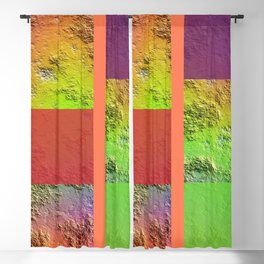Rainbow Rock Checkered Gingham Patchwork Color Canvas Blackout Curtain
