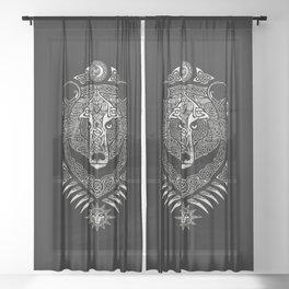 Scandinavian bear Sheer Curtain
