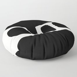 Black and White Abstract Shapes Floor Pillow