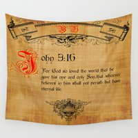 bible Wall Tapestries featuring Bible Verse John 3:16 by gcuda12