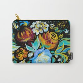 Colorful floral abstraction #2 acrylic painting , flower acrylic painting on a black background Carry-All Pouch