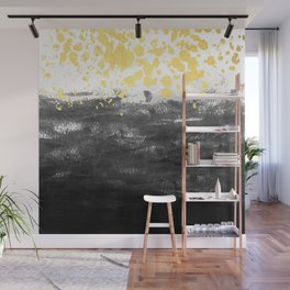 Minimal painting abstract gold black and white ocean water waves dots painterly Wall Mural