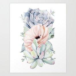 Pastel Succulents by Nature Magick Art Print