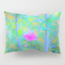 Pink Rose of Sharon Impressionistic Blue Landscape Garden Pillow Sham