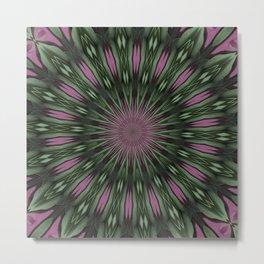 Rose And Jade Geometric Floral Mandala Pattern Metal Print