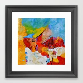 House and tree Framed Art Print