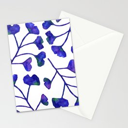 Ginkgo Leaves Watercolor Indigo on white Stationery Cards