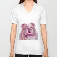 bulldog V-neck T-shirts featuring Bulldog by Ahmad Mujib
