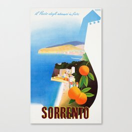 Vintage Sorrento Italy Travel Ad Canvas Print