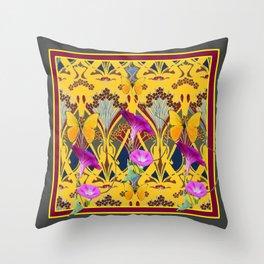 Charcoal Grey & Fuchsia Floral Yellow Butterflies Art Throw Pillow