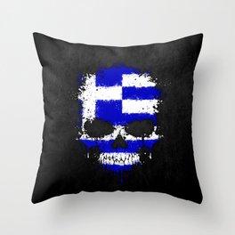 Flag of Greece on a Chaotic Splatter Skull Throw Pillow