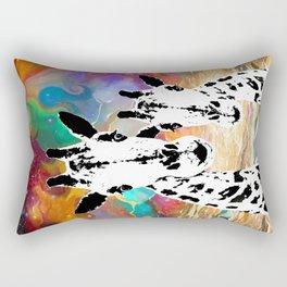 Cosmic Galaxy Black and White Giraffes Rectangular Pillow