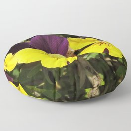 The Pansies at the Corner Floor Pillow