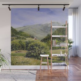 Pastures and Mount Mansfield Oil Landscape Vermont Painting Wall Mural