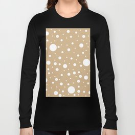 Mixed Polka Dots - White on Tan Brown Long Sleeve T-shirt