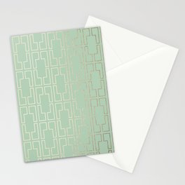 Simply Mid-Century in White Gold Sands and Pastel Cactus Green Stationery Cards