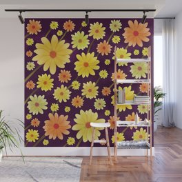 Yellow dots, Yellow Flower, Floral Pattern, Yellow Blossom Wall Mural
