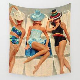 Retro Sunbathers Wall Tapestry