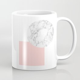Marble and pink square geometric abstract print Coffee Mug