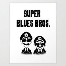Super Blues Bros. (Black and White) Art Print