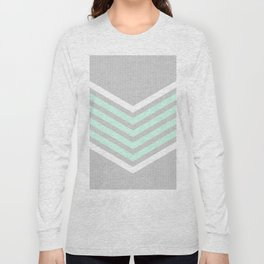 Mint & White Arrows Over Grey Stripes Long Sleeve T-shirt