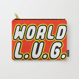 WORLD L.U.G [LEGO USERS GROUP] in Brick Font Logo Design by Chillee Wilson Carry-All Pouch