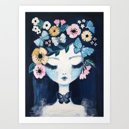Flower Crown portrait Art Print