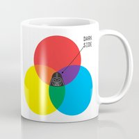 dark side Mugs featuring Dark Side by I Love Doodle