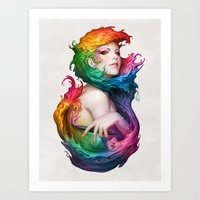 pen Art Prints featuring Angel of Colors by Artgerm™