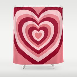 Rose Red Hypnotic Hearts Shower Curtain