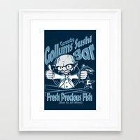 lotr Framed Art Prints featuring LOTR - Greedy Gollums Sushi Bar  by Immortalized