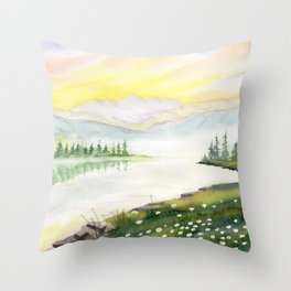 Far Side of Mountain  Throw Pillow