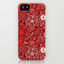 Paisley Distressed Layers red iPhone Case
