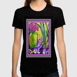 Chartreuse-Violet art Vase Pansies Floral Painting T-shirt