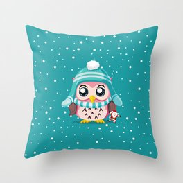 Cute Owl Holiday Throw Pillow